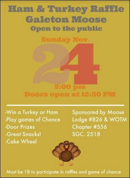 11-24 Galeton Moose Ham & Turkey Raffle