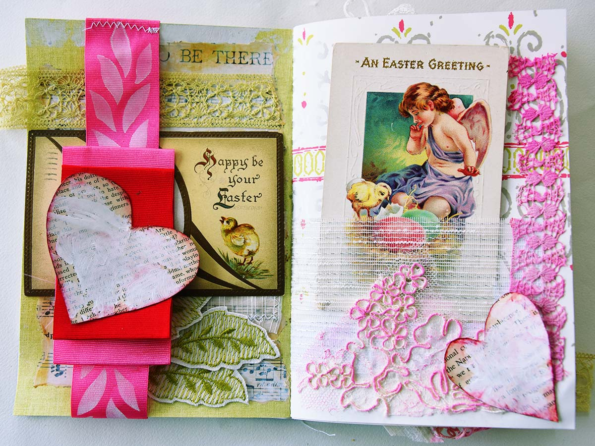 Album pages with vintage Easter postcards by Jeanne Selep