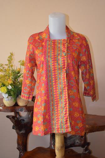 Baju Batik Atasan Kombinasi Polos