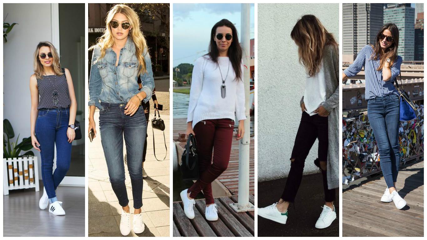 983ea964da0 Se a aposta é compor um look casual aposte na calça jeans com tênis branco.  A composição pode ser com jeans básico