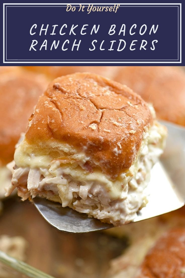 Chicken Bacon Ranch Sliders perfect weeknight dinners, potlucks or game day parties. With loads of shredded chicken, bacon, swiss cheese, and ranch flavor, these mini sandwiches are hearty and tasty!
