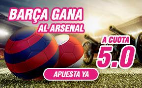 wanabet Barcelona gana Arsenal cuota 5 + 150 euros bono 23 febrero
