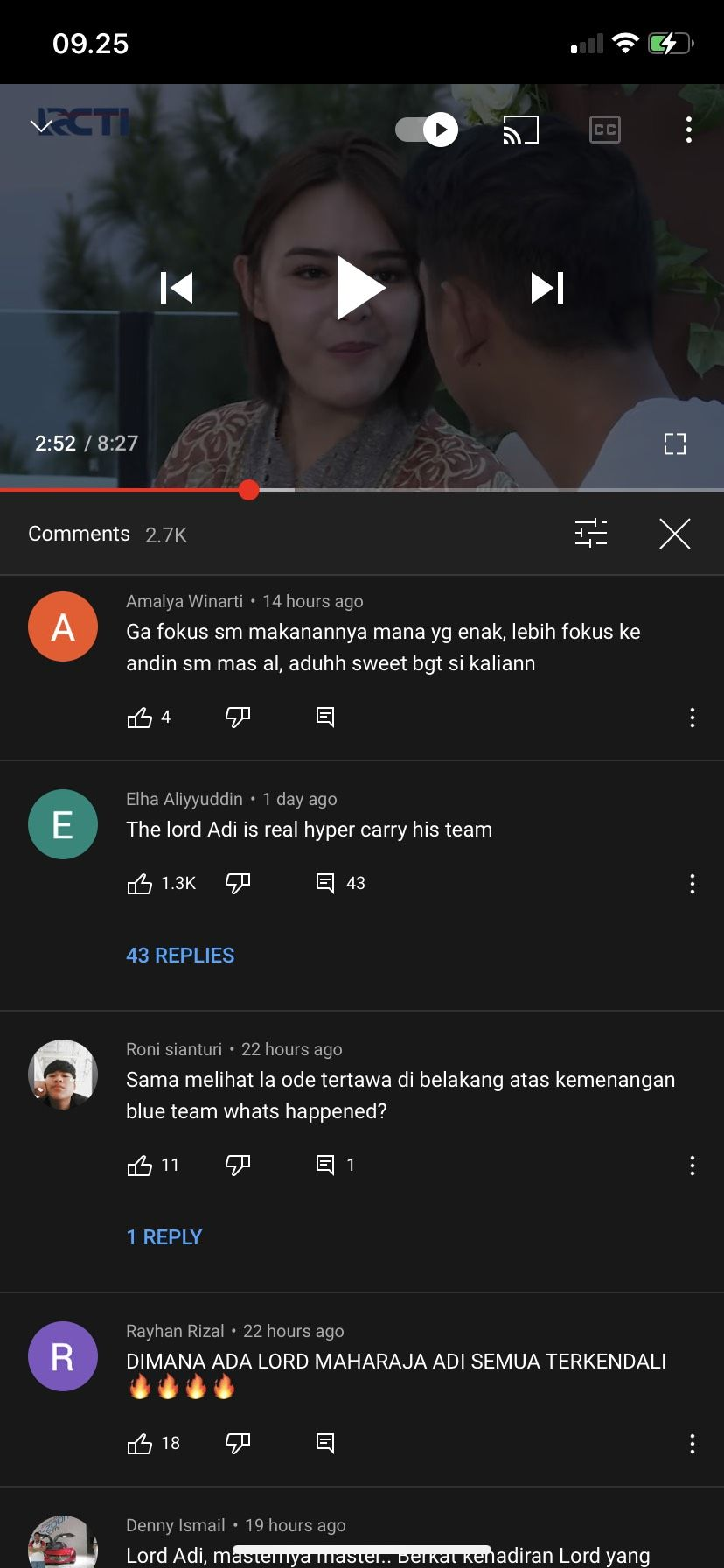 Komentar dari netizen. Tangkapan layar YouTube The Masterchef Indonesia