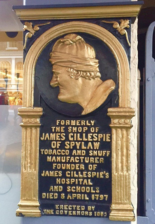 Plaque to Gillespie marking the spot of his shop on the high street