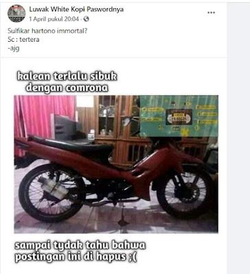 postingan motor sulfikar dihapus facebook