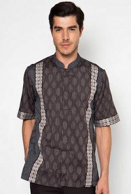 Model baju muslim lebaran pria trendy motif batik modern