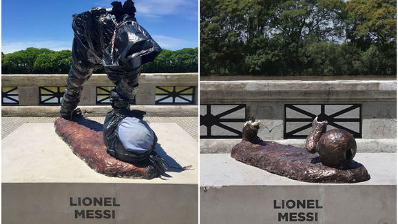 PHOTO: Lionel Messi Statue Destroyed Again