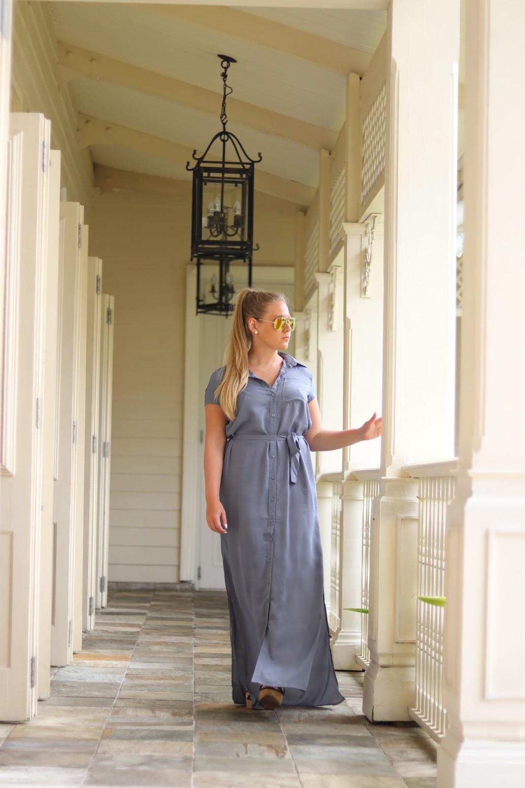 Katie Heath wearing a Boohoo dress at the Heritage Le Telfair Hotel, Mauritius