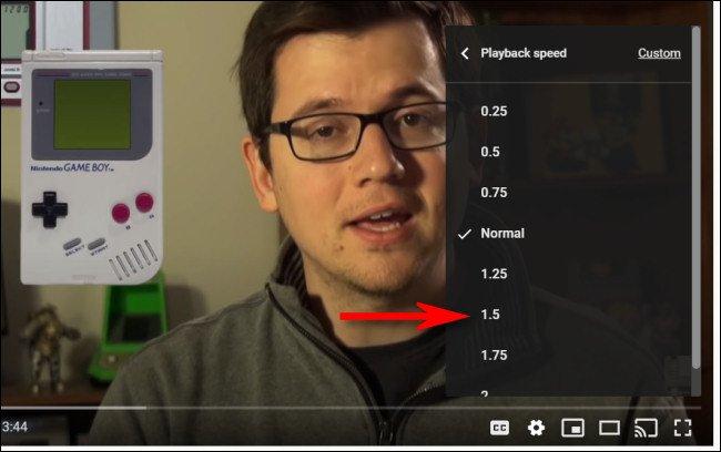اختر سرعة تشغيل YouTube من القائمة.