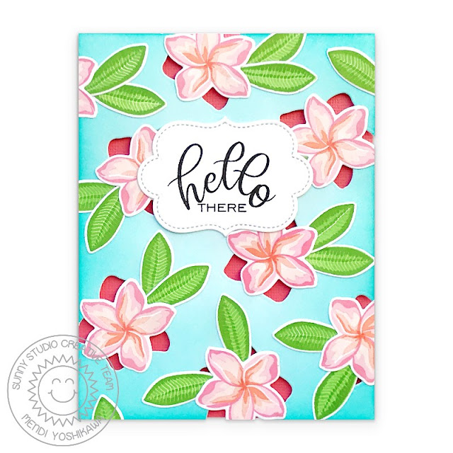 Sunny Studio Blog: Hello There Tropical Flower Cutout Card (using Radiant Plumeria, Potted Rose & Label from Sliding Window Dies)