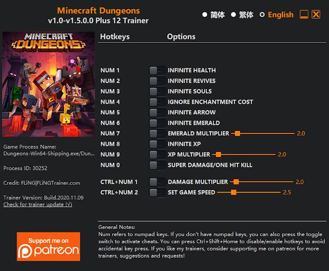 Tampilan Menu Trainer Minecraft Dungeons PC
