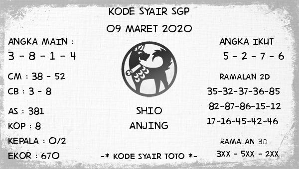 Prediksi Togel Bocoran Singapura Senin 09 Maret 2020 - Kode Syair Toto