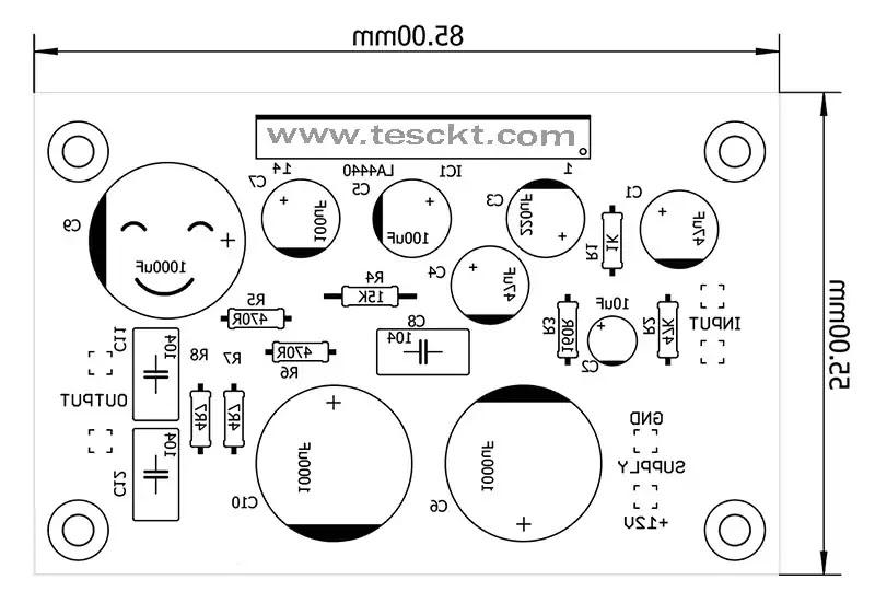 la4440 amplifier circuit pcb top