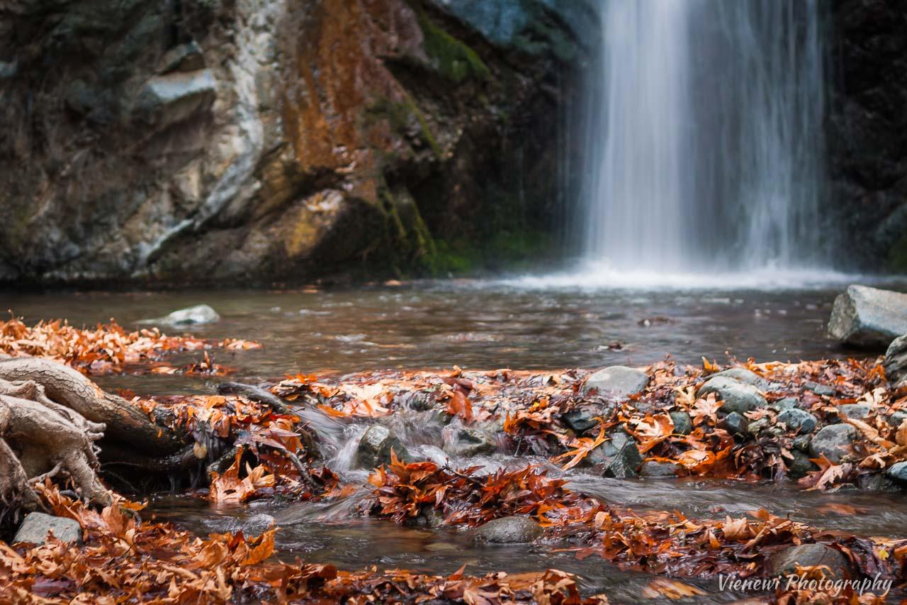 Jesienna sceneria z suchymi opadłymi liśćmi u podstawy wodospadu Millomeri.
