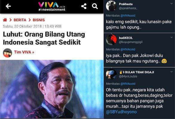 Kata Luhut: Orang Bilang Utang Indonesia Sangat Sedikit; Warganet Ramai-ramai Menanggapi