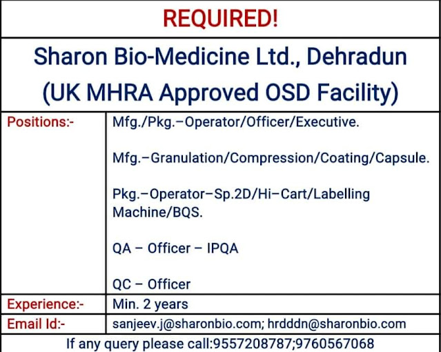 Sharon BioMedicine Ltd Urgent Openings for Manufacturing Quality Assurance Quality Control Departments
