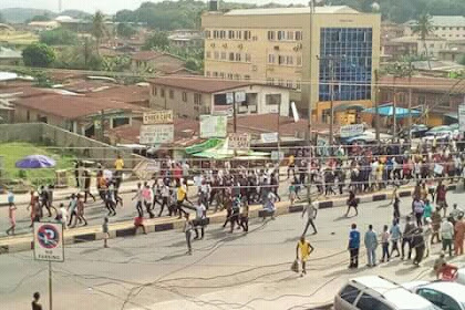 AAUA Student Protest : Disarray In State Capital As Student Peaceful Protest Disturbed