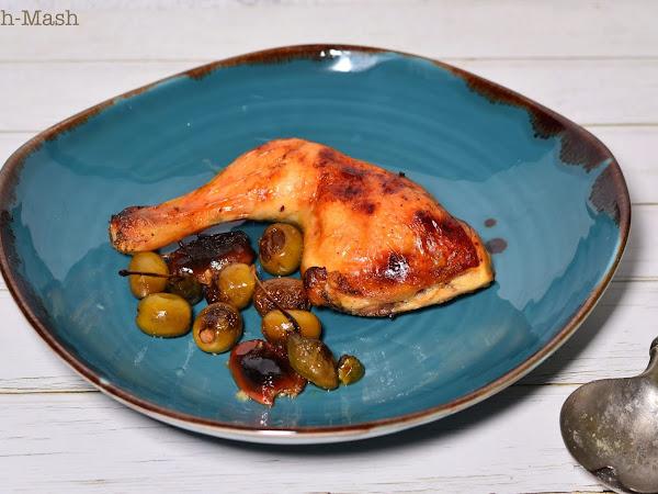 Печено пиле с фурми, маслини и каперси