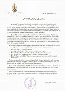 NO HABRÁ PROCESIÓN NI MARÍTIMA, NI TERRESTRE DE LA VIRGEN DEL CARMEN DE ROTA