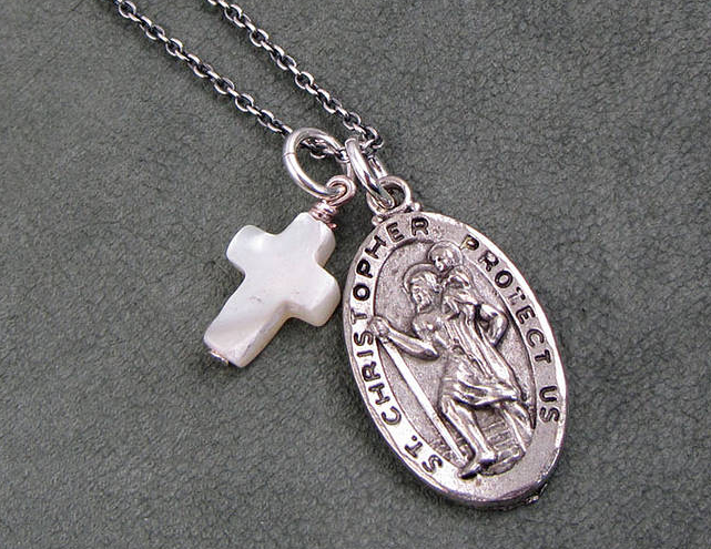 saint christopher necklaces with cross