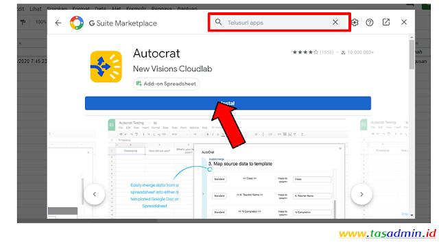 Install AutoCrat untuk cetak bukti ppdb otomatis