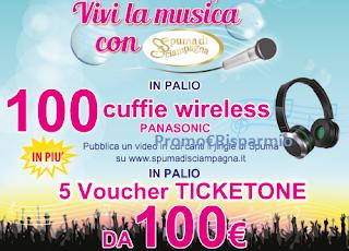 Logo Spuma di Sciampagna: vinci cuffie Wireless e TicketOne da 100 euro