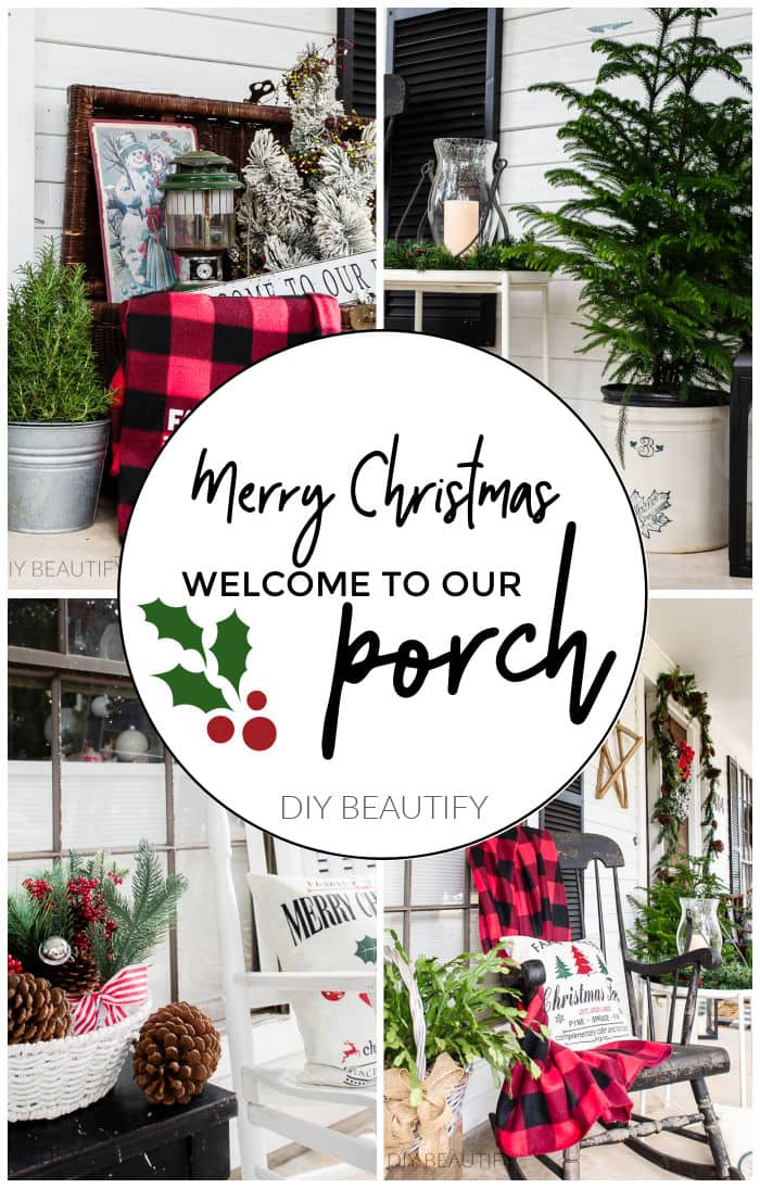 Christmas porch decorated for the holidays