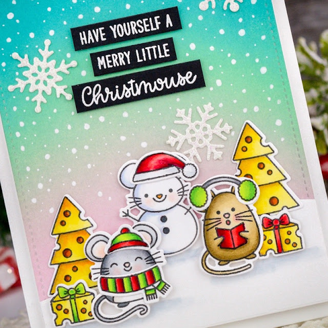 Sunny Studio Stamps: Merry Mice Layered Snowflake Frame Dies Frilly Frame Dies Christmas Card by Angelica Conrad