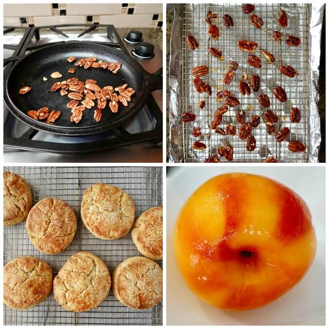Assembling Peach Shortcakes with Candied Pecans and whipped cream