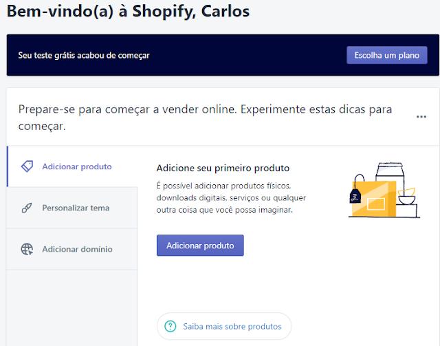 adicionar um produto loja virtual shopify brasil