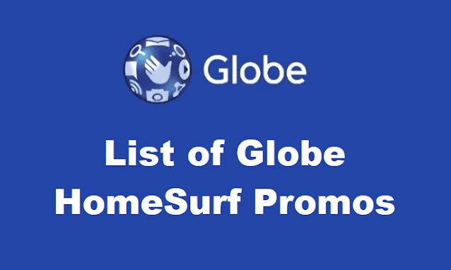 Compete List of Globe HomeSurf Promos