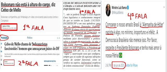 Quatro falas de Celso de Melo que o deixa suspeito de relatar, julgar ou votar qualquer processo contra Bolsonaro por ódio velado