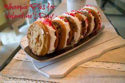 Whoopie Pies for Valentine's Day Serves 6 Print Screen  Ingredients:  12 large soft bakery cookies (any flavor you would like) 4 cups Marshmallow Fluff - 16 oz plastic tub 2 cups Crisco Baking Sticks All Vegetable Shortening, 20 Ounce 3 cups powdered sugar 3 tsp OliveNation Alcohol Free Gluten Free Vanilla Extract - Add Great Depth of Flavor in Baking and Cooking Recipes - Size of 2 oz any type of Valentines Mini Hearts sprinkles  www.adornedfromabove.com  Adorned From Above