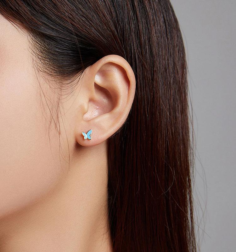 滴釉金邊藍蝴蝶 925純銀耳環