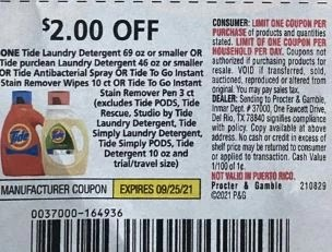 """2.00/1 Tide Coupon from """"PG"""" insert week of 8/29/21."""