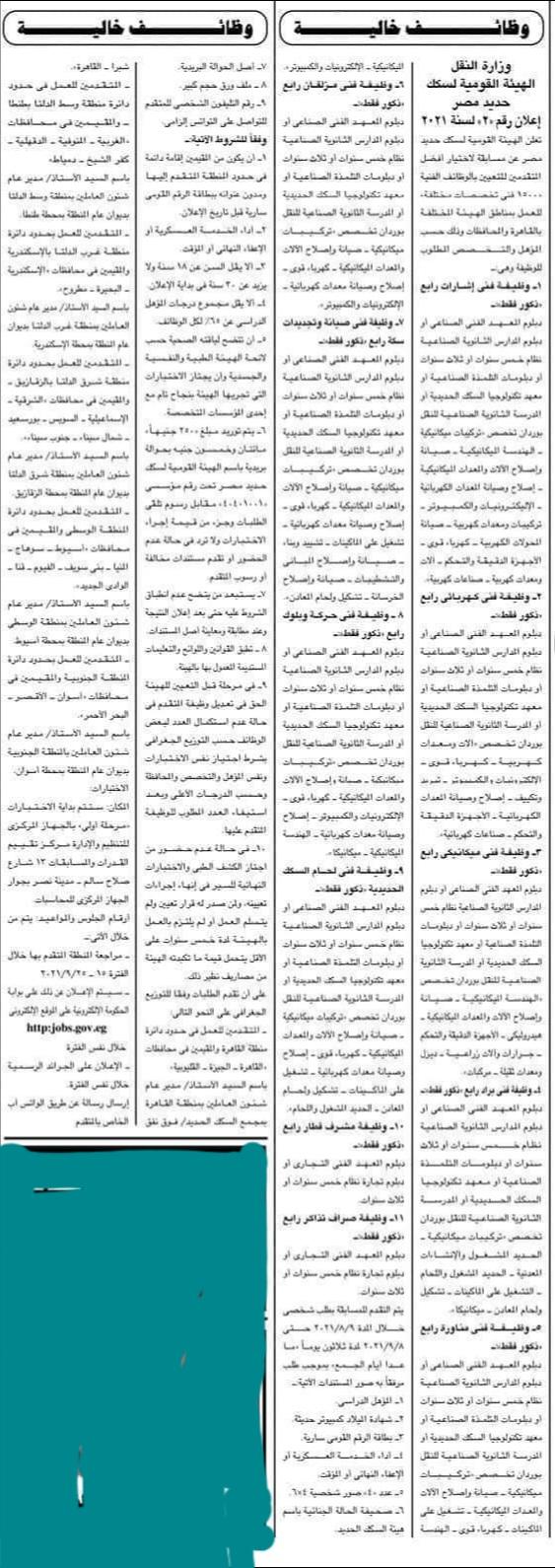 اعلان وظائف الهيئة القومية لسكك حديد مصر - اعلان رقم 2 لسنة 2021 للدبلومات والمعاهد