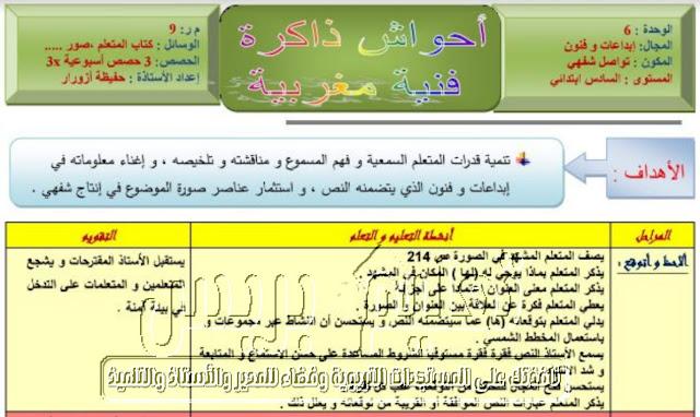جذاذات الوحدة السادسة كتابي في اللغة العربية المستوى السادس