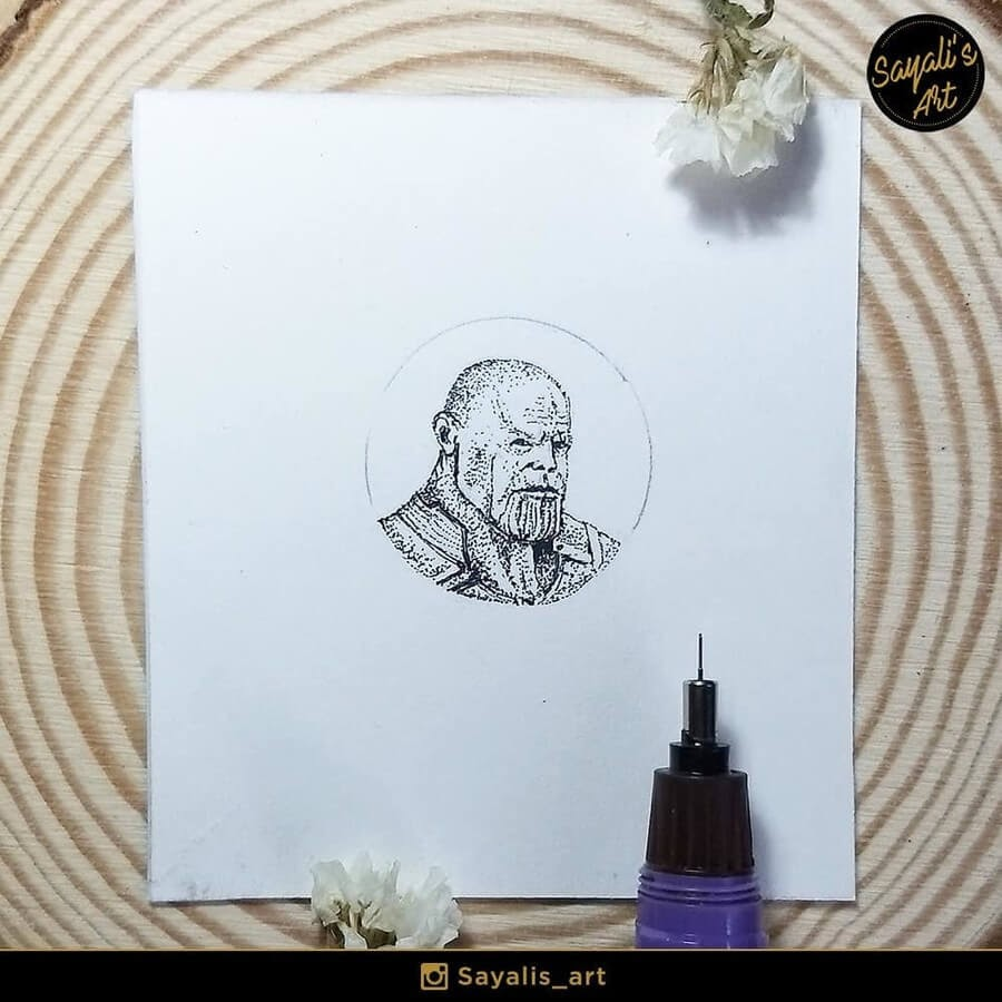 09-Thanos-Avengers-Endgame-Sayali-Horambe-Stippling-Fantasy-Art-Drawings-www-designstack-co