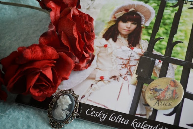 Czech lolita calendar brooch rose headband red