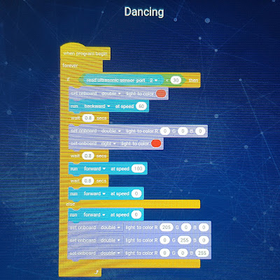 Codes for dancing robot - the example included in the Robobloq app.