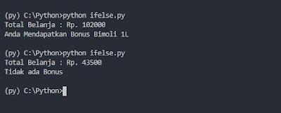 Output Percabangan IF ELSE Python