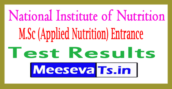 NIN M.Sc (Applied Nutrition) Entrance Test Results 2017