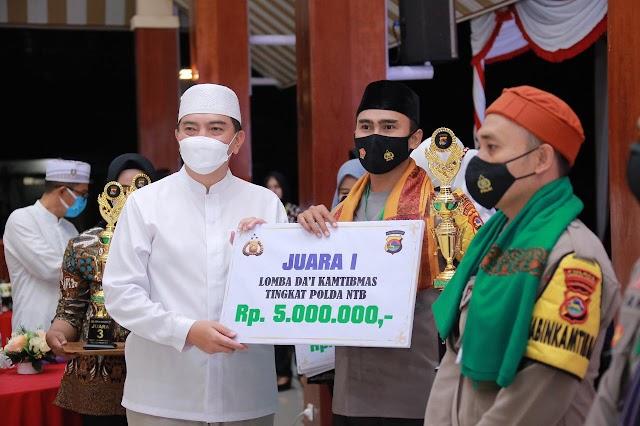 Polres Lombok Barat Keluar Sebagai Juara Lomba Da'i Kamtibmas Tingkat Polda NTB.