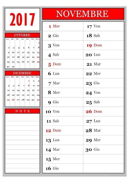 Calendario mensile - novembre 2017