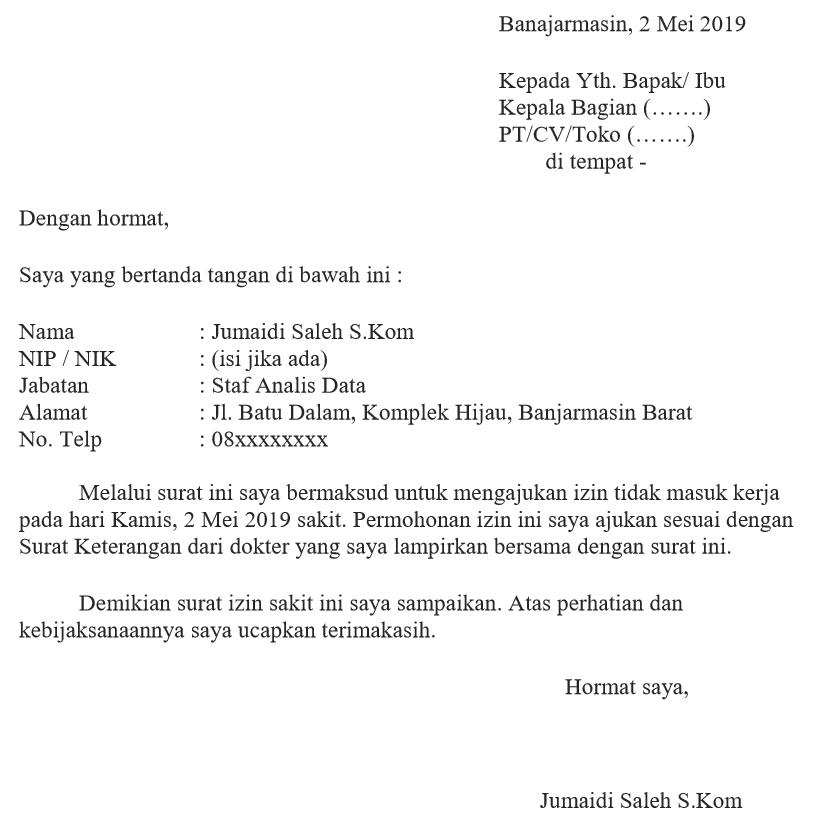 Contoh Surat Izin Sakit Formal Karyawan Swasta Ashadin