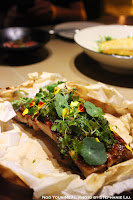 BBQ Pork Ribs with Plum & Miso Glaze, Capers, Mustard Greens at Mume in Taiwan