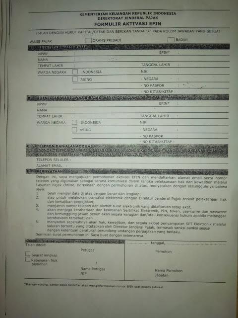 formulir permohonan aktifasi EFIN SPT pajak tahunan online e-pin