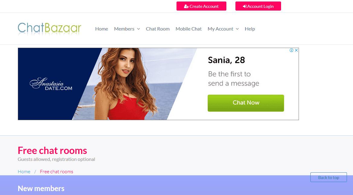 Chat Bazaar homepage