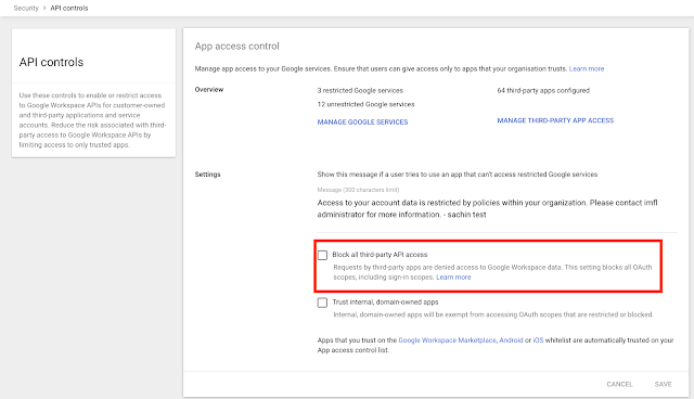 Restrict third-party API access to Google Workspace and end user data 1