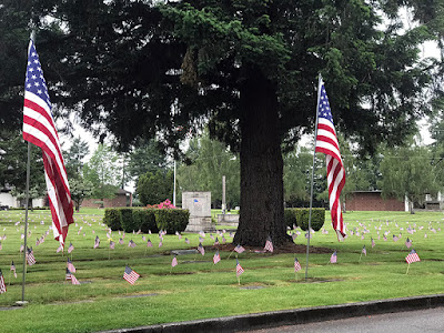 Patriotically decorated with 'Old Glory' for Memorial Day.